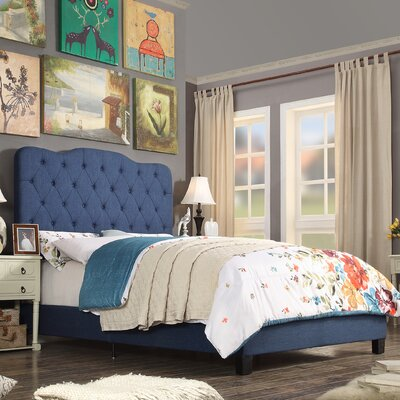 Elian Upholstered Panel Bed Upholstery: Classic Navy, Size: Queen
