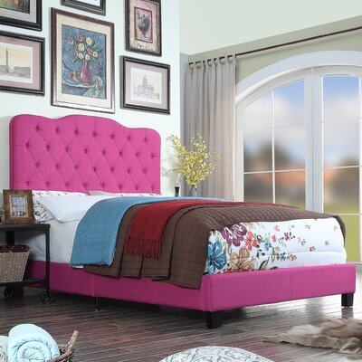 Elian Upholstered Panel Bed Color: Magenta Pink, Size: Queen