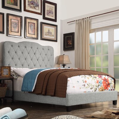 Elian Upholstered Panel Bed Color: Gray, Size: Queen