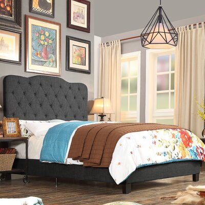 Elian Upholstered Panel Bed Upholstery: Charcoal, Size: Full