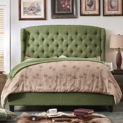 Felisa Upholstered Panel Bed Color: Natural Olive Green, Size: Queen