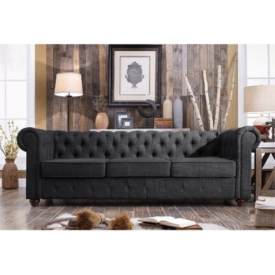 Garcia Chesterfield Sofa Upholstery: Charcoal