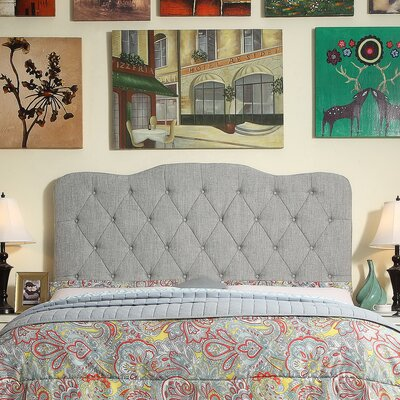 Elian Tufted Upholstered Panel Headboard Size: Queen, Upholstery: Gray