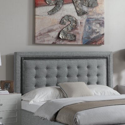 Rawley Queen Upholstered Panel Headboard Color: Gray