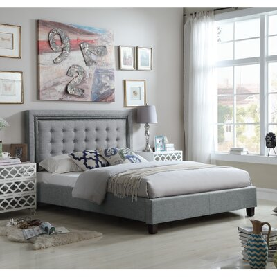 Hidalgo Queen Upholstered Panel Bed Color: Gray