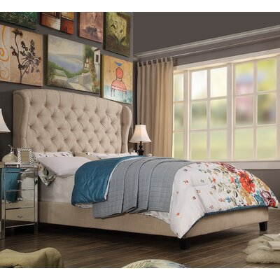 Felisa Upholstered Panel Bed Color: Beige, Size: Full