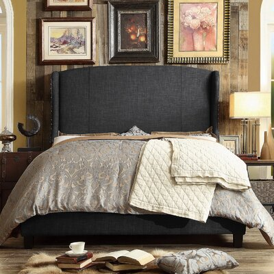 Arzola Upholstered Panel Bed Size: Queen, Color: Charcoal
