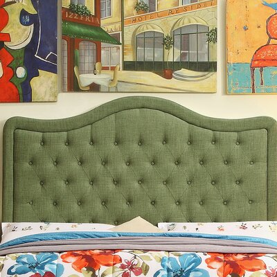Turin Tufted Upholstered Panel Headboard Size: Queen, Upholstery: Natural Olive Green
