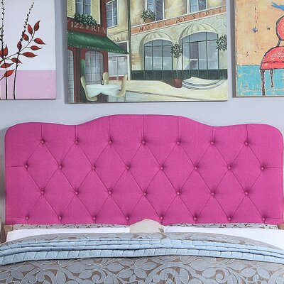 Elian Tufted Upholstered Panel Headboard Size: Twin, Upholstery: Magenta Pink