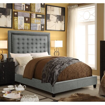 Rawley Queen Upholstered Panel Bed Color: Gray