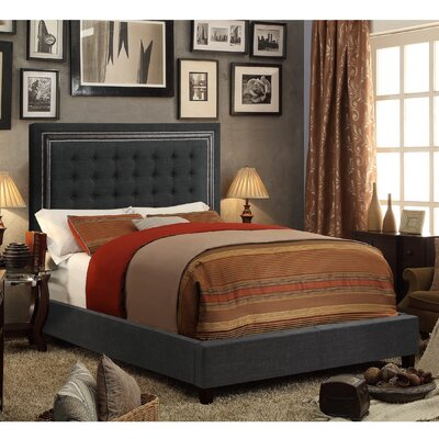 Rawley Queen Upholstered Panel Bed Color: Charcoal