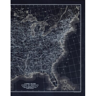 US Atlas Map Wall Mural Color: Black Out, Size: 43.2