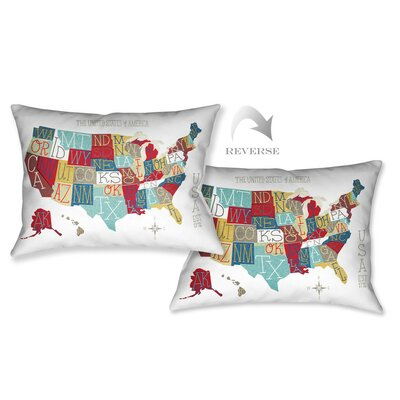 USA Map Lumbar Pillow