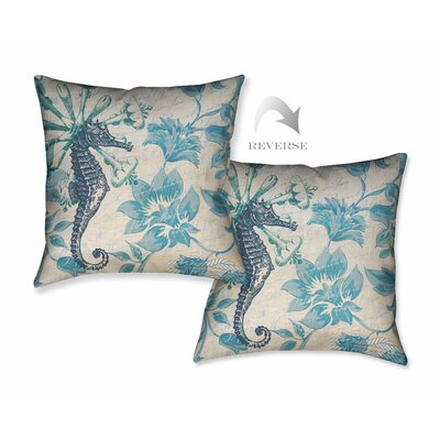 Floral Seahorse Throw Pillow