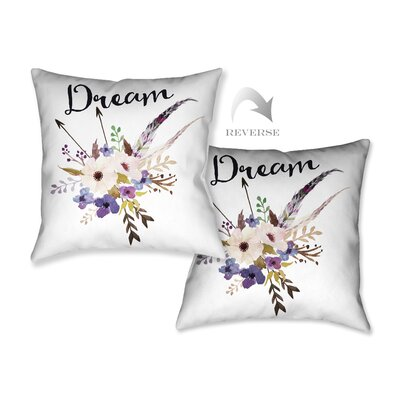 Watercolor Flowers and Dream Throw Pillow