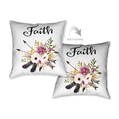 Watercolor Flowers and Faith Throw Pillow
