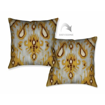 Ochre Ikat I Throw Pillow