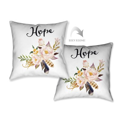 Watercolor Flowers and Hope  Throw Pillow