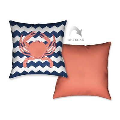 Crab and Chevron Throw Pillow