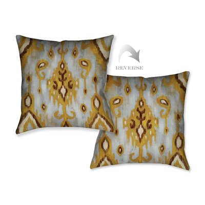 Ochre Ikat II Throw Pillow
