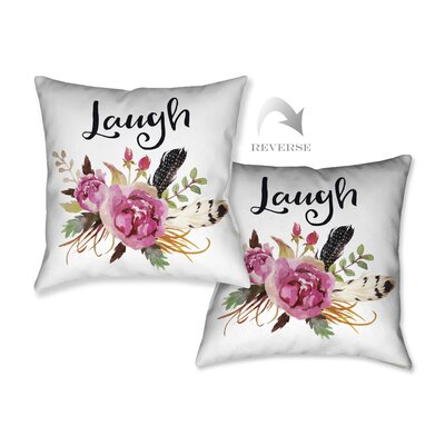 Watercolor Flowers and Laugh Throw Pillow WFL18X18DP