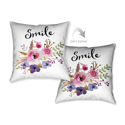 Watercolor Flowers and Smile Throw Pillow
