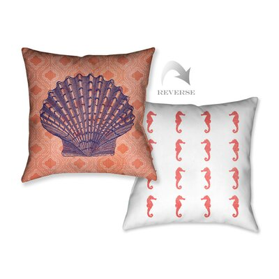 Coral Coastal Shell Throw Pillow