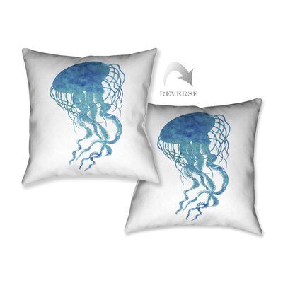 Watercolor Jellyfish Throw Pillow