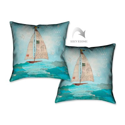 Coastal Notes I Throw Pillow