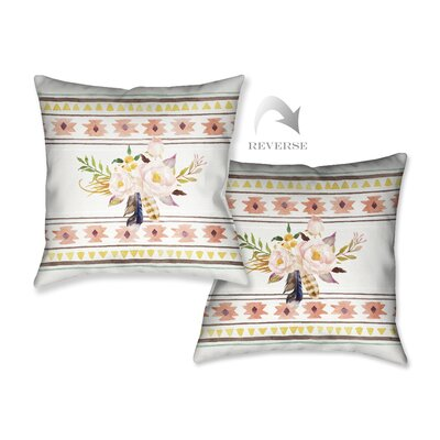 Tribal Flowers II Throw Pillow