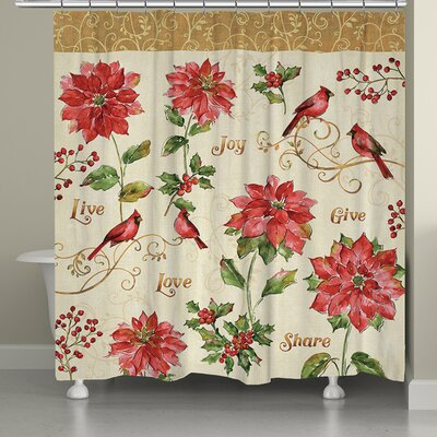 Holiday Red Christmas Shower Curtain