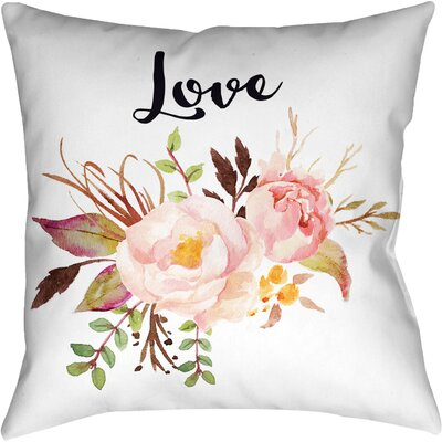 Watercolor Flowers and Love Throw Pillow