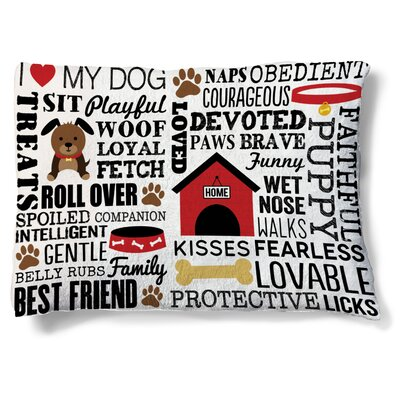 Diana Dog Words Fleece Dog Bed