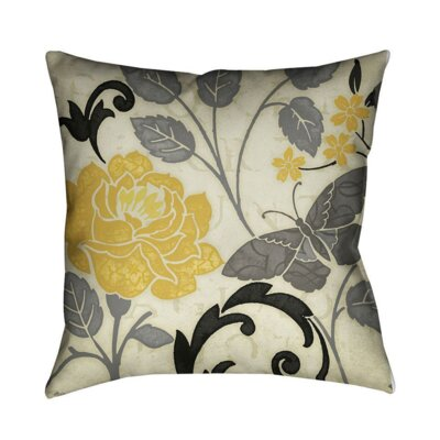 Perfect Petals II Throw Pillow Color: Yellow