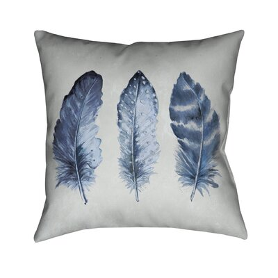 Indigo Feathers Throw Pillow