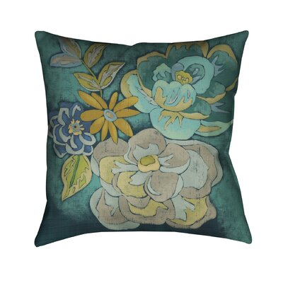 Teal Bouquet Throw Pillow