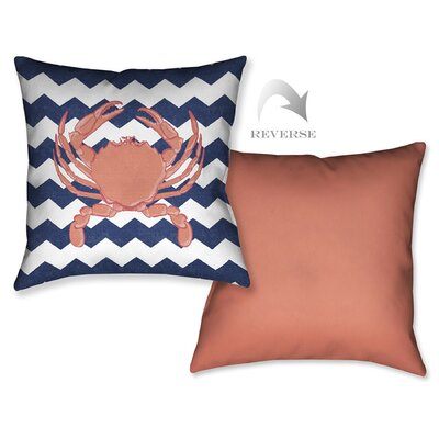 Crab Chevron Outdoor Throw Pillow