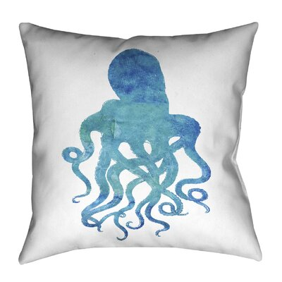 Watercolor Octopus Outdoor Throw Pillow