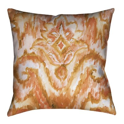 Indigo Pattern I Outdoor Throw Pillow Color: Orange/Coral