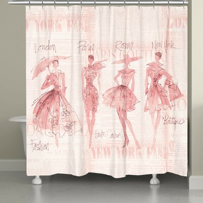 Chenango Fashion Sketchbook Shower Curtain Color: Pink