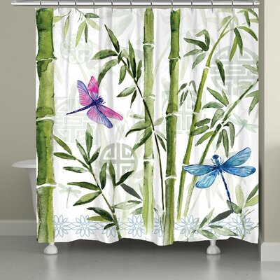 Tona Bamboo Dragonflies Shower Curtain