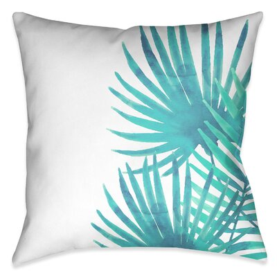 Eleni Aqua Palm Leaves II Outdoor Throw Pillow Size: 18 x 18