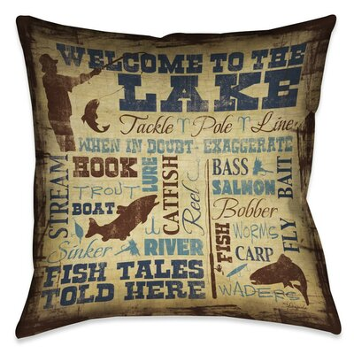 Braylen Welcome to the Lake Outdoor Throw Pillow Size: 18 x 18