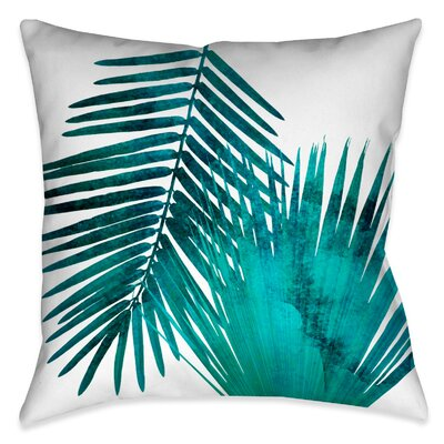 Ellicott Watercolor Teal Palms Outdoor Throw Pillow Size: 20 x 20