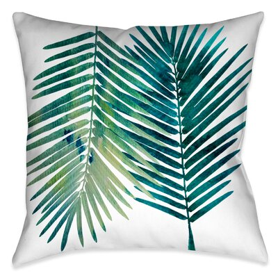Ellicott Square Watercolor Teal Palms Outdoor Throw Pillow Size: 20 x 20