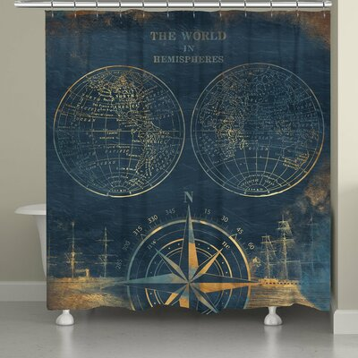 Consolata Golden Compass World Map Shower Curtain