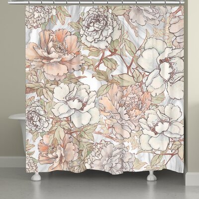 Alyda Blushing Peonies Shower Curtain