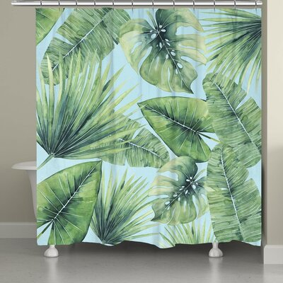 Suhel Tropical Palm Tree Leaves Shower Curtain