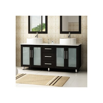 Lune 59 Double Vessel Modern Bathroom Vanity Set