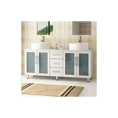Lune 59 Double Vessel Modern Bathroom Vanity Set